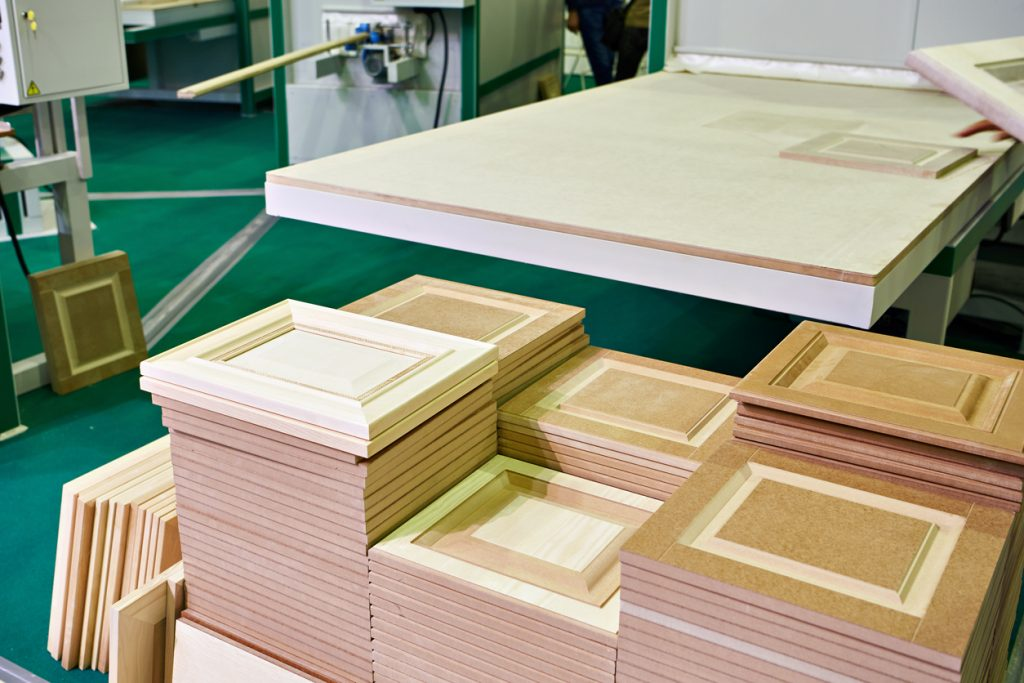 Wooden facades in furniture plant