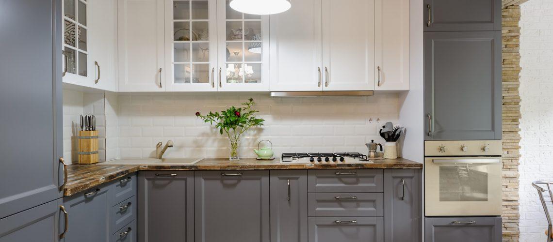 modern grey and white wooden kitchen interior